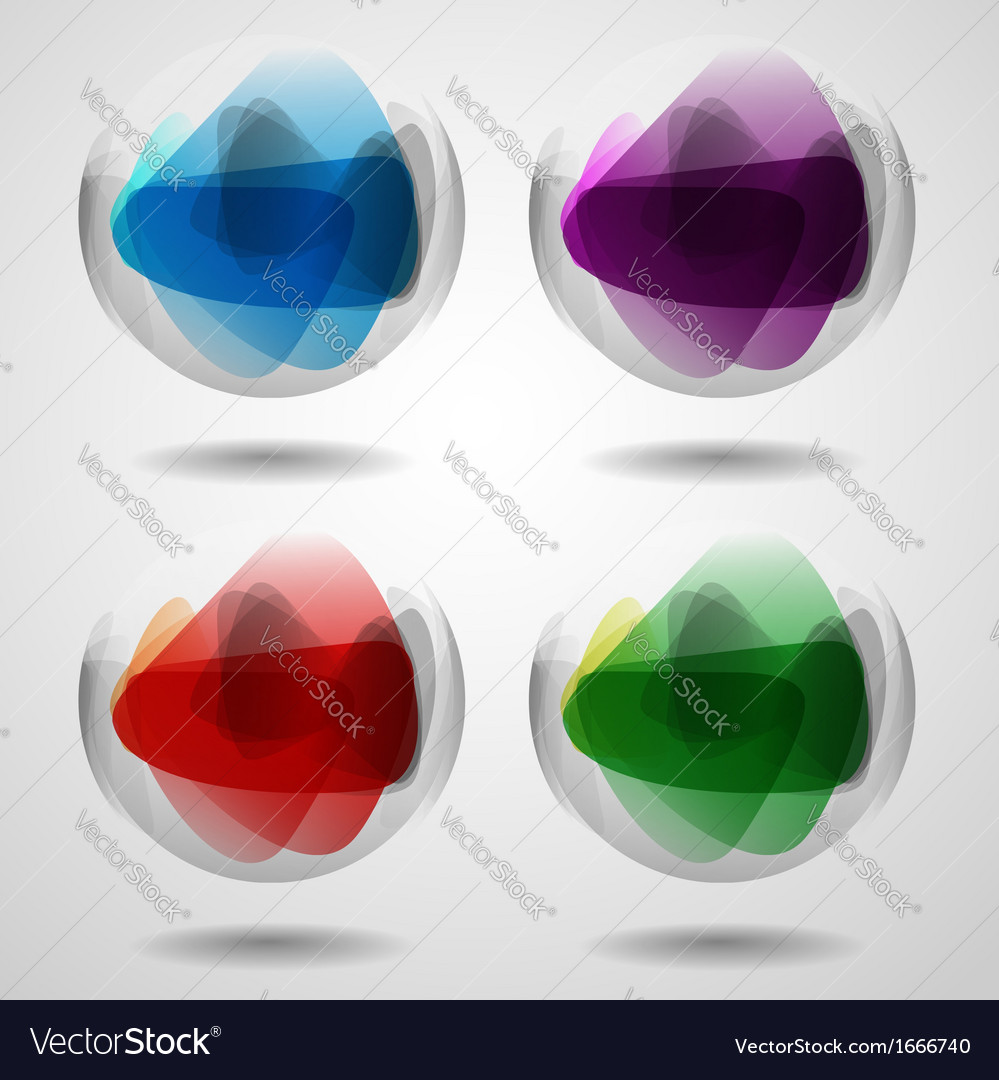 Set of translucent crystal ball vector | Price: 1 Credit (USD $1)