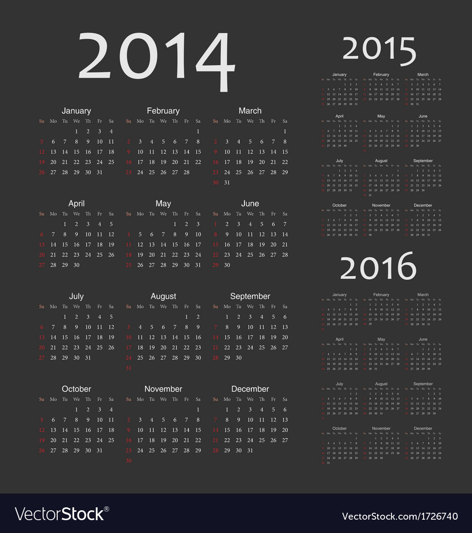 Simple european 2014 2015 2016 year calendars vector | Price: 1 Credit (USD $1)