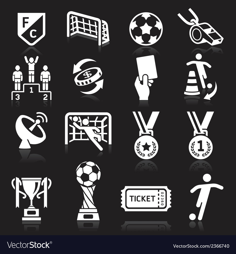 Soccer icons on black background vector | Price: 1 Credit (USD $1)
