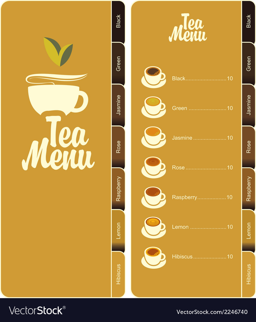 Tea menu 001 vector | Price: 1 Credit (USD $1)