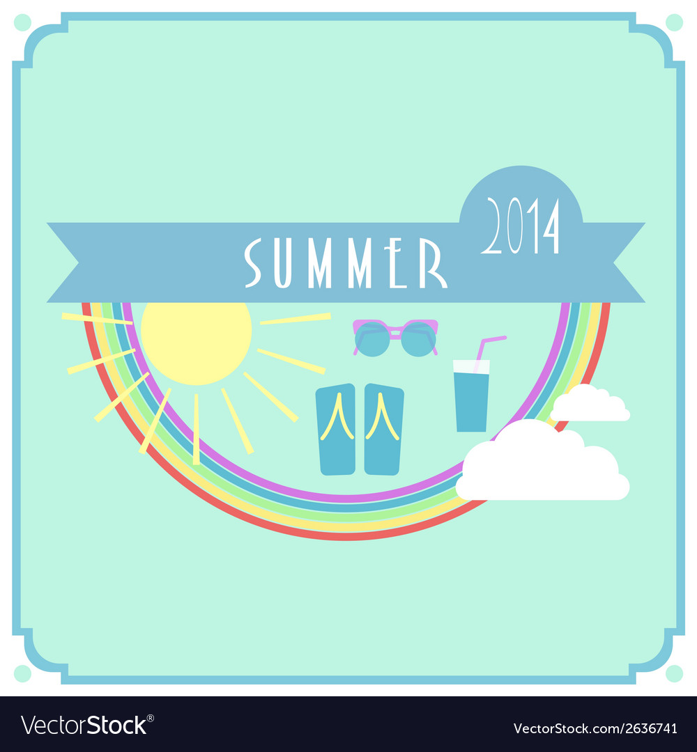 Blue summer card with sun rainbow clouds vector | Price: 1 Credit (USD $1)