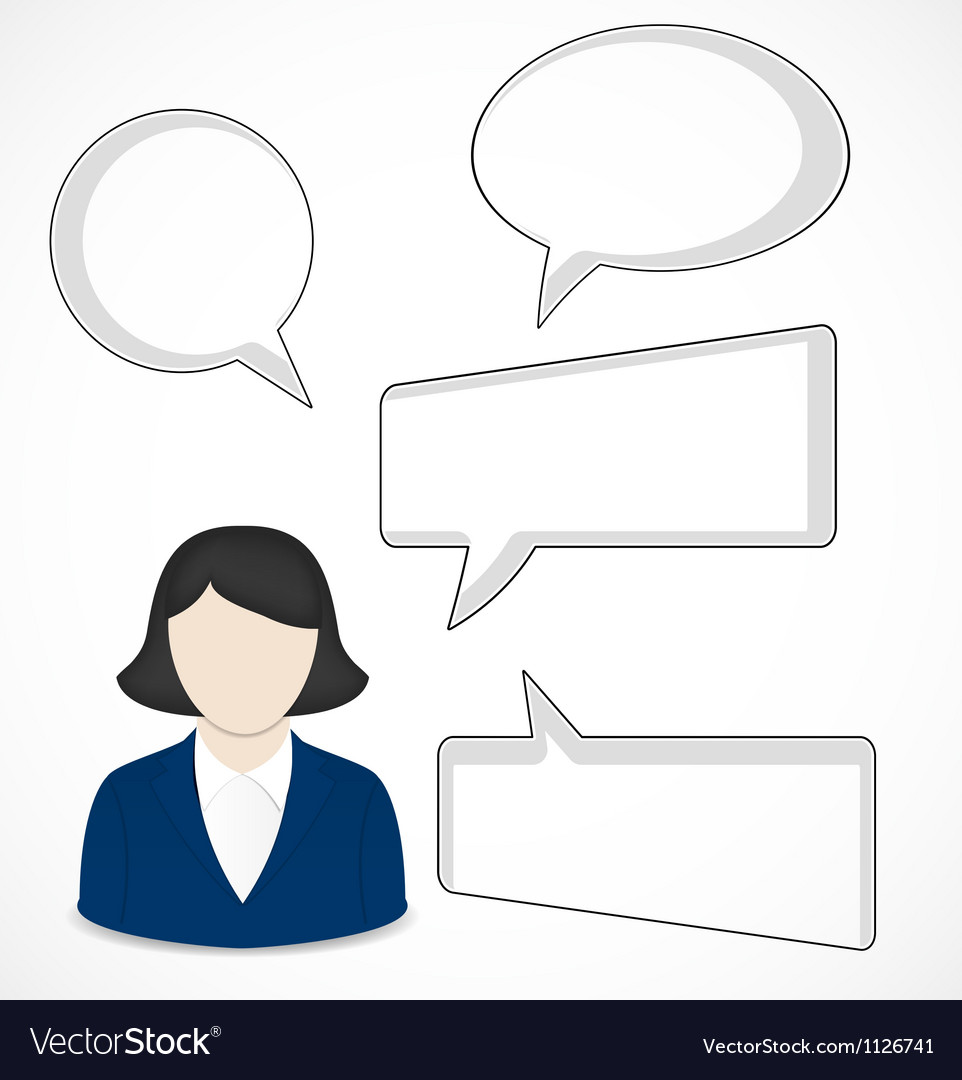 Business woman and speech bubbles vector | Price: 1 Credit (USD $1)
