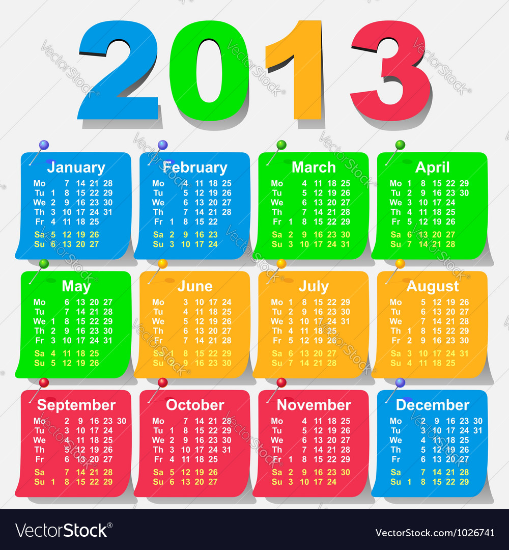 Calendar 2013 week starts with monday vector | Price: 1 Credit (USD $1)