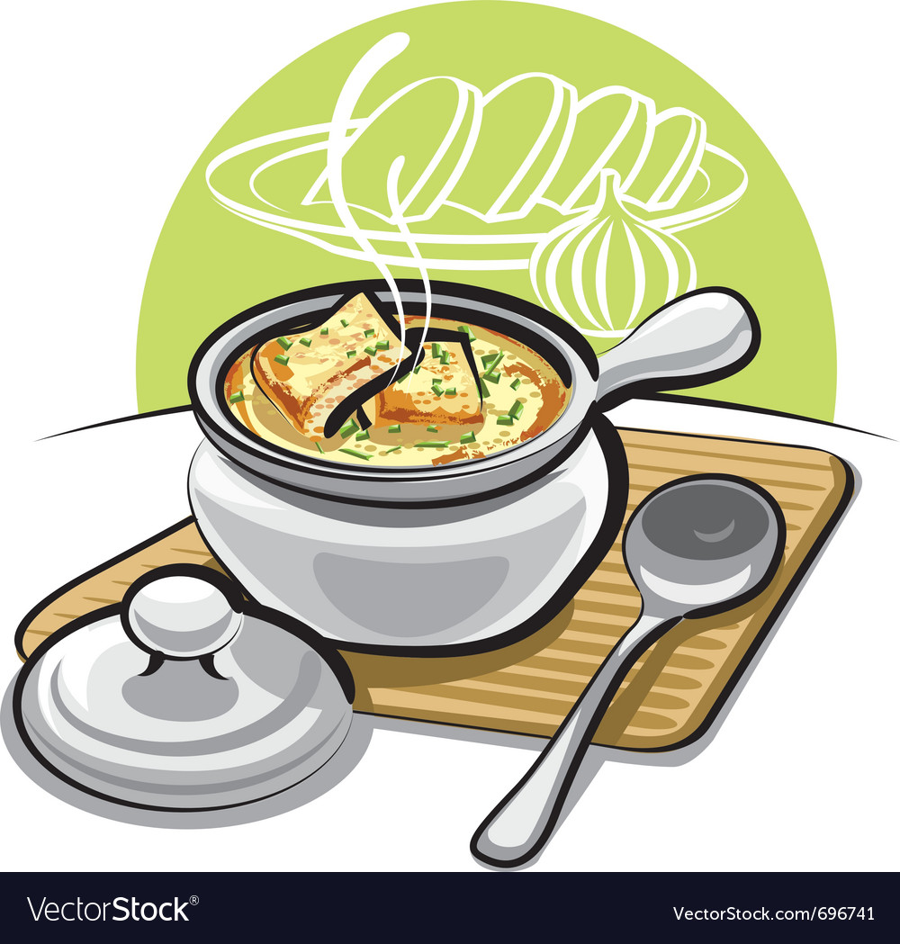 French onion soup with croutons vector | Price: 3 Credit (USD $3)