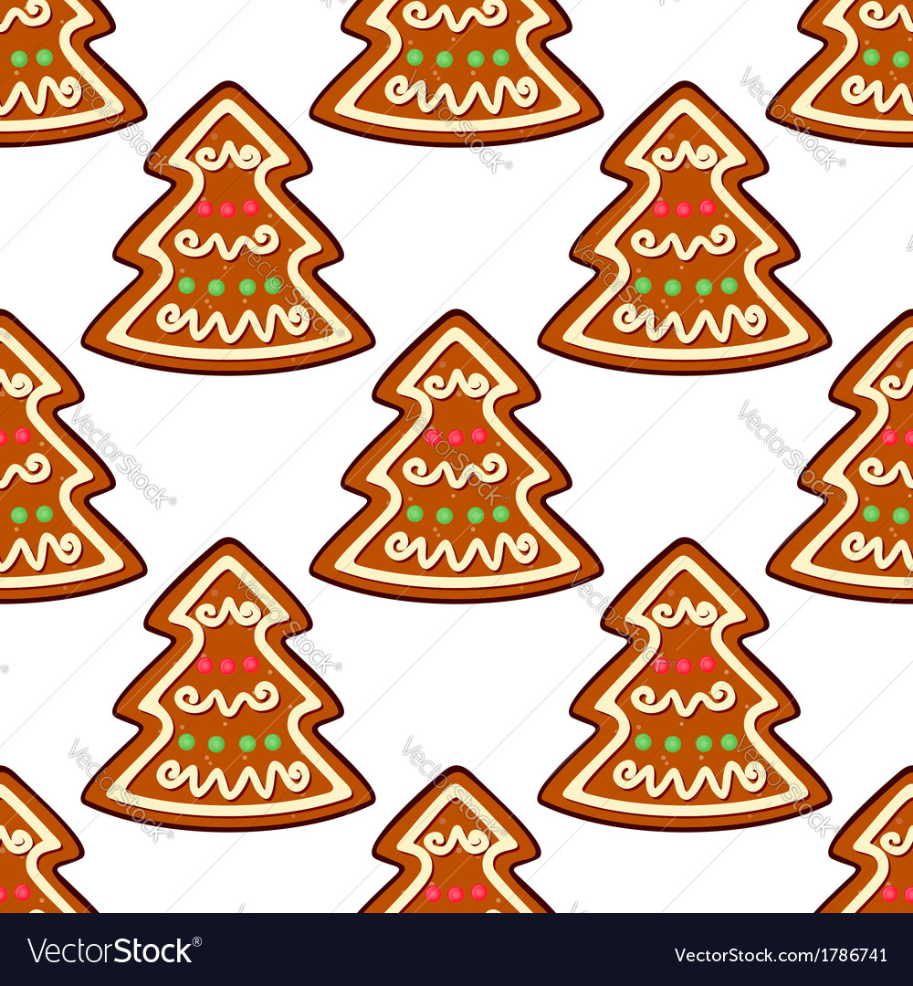 Gingerbread new year tree seamless pattern vector | Price: 1 Credit (USD $1)