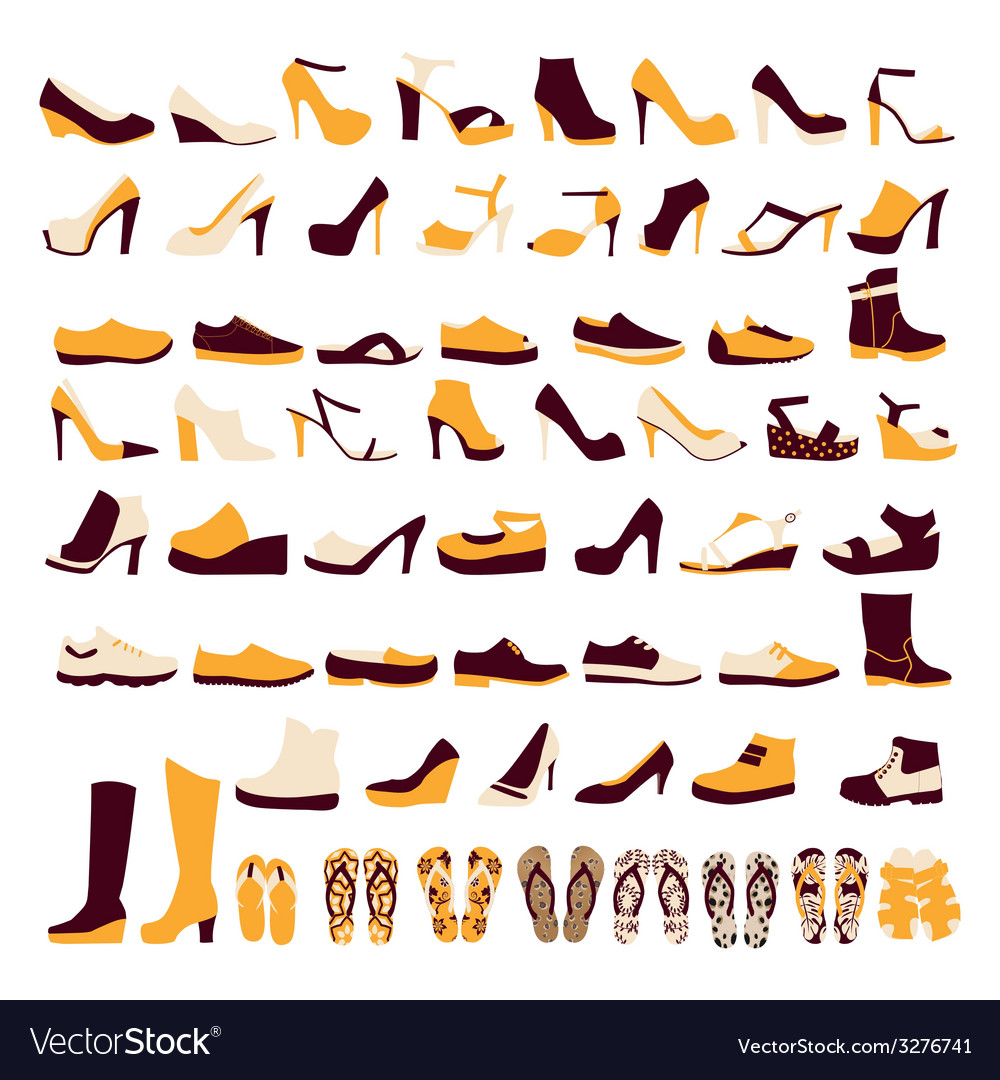 Icon set of mens and of womens shoes vector | Price: 1 Credit (USD $1)