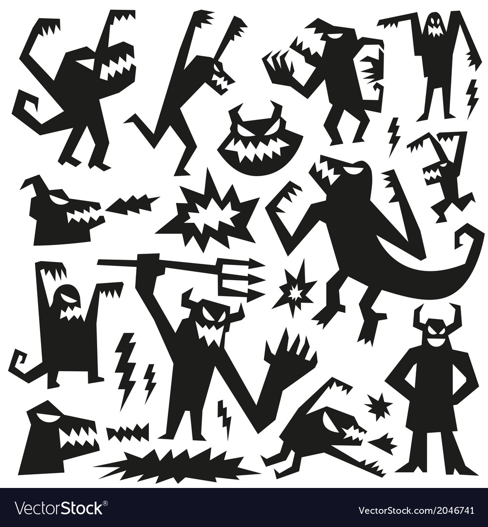 Monsters - doodles set vector | Price: 1 Credit (USD $1)