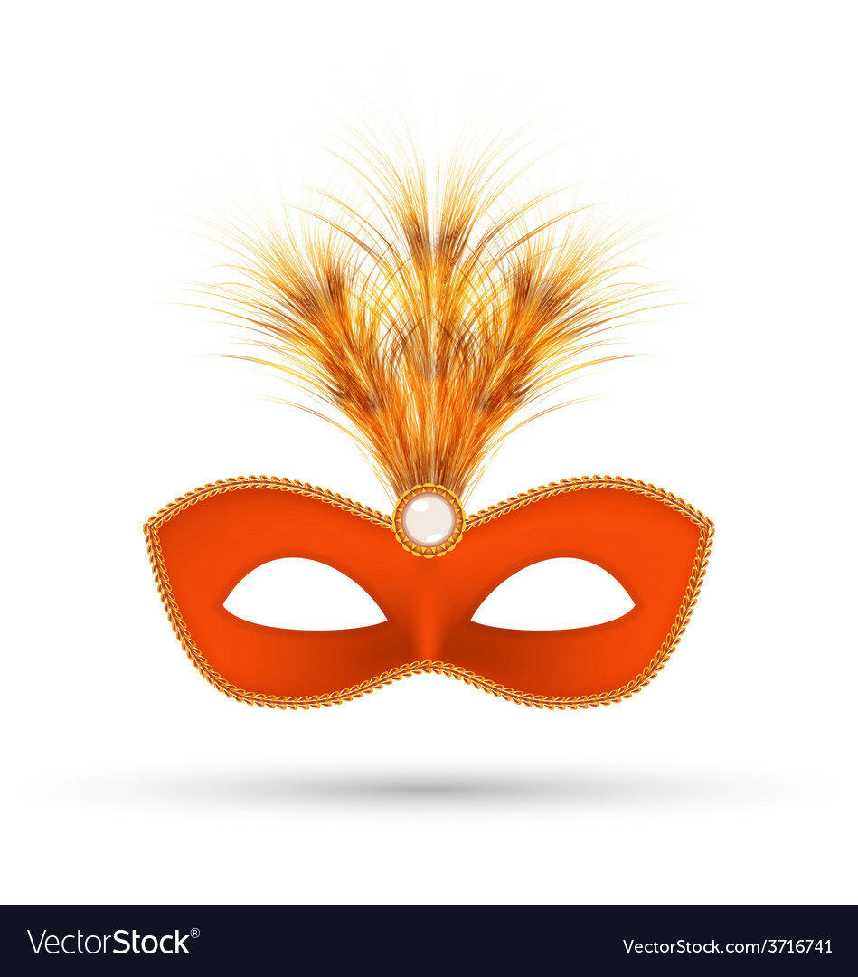 Orange carnival mask with fluffy feathers isolated vector | Price: 1 Credit (USD $1)