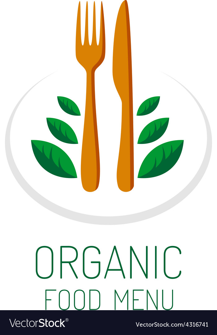 Organic food menu title logo template vegetarian vector | Price: 1 Credit (USD $1)
