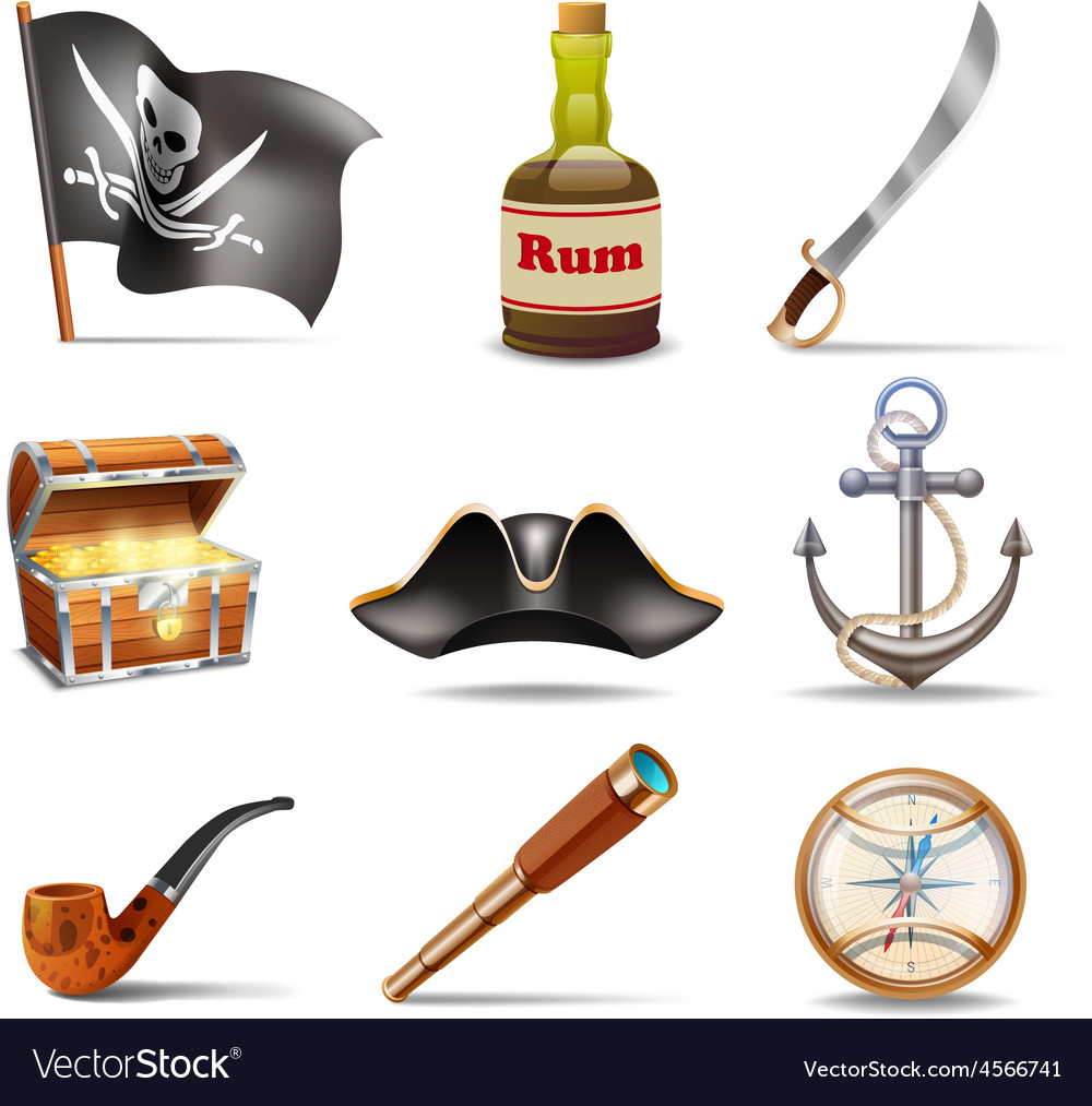Pirate icons set colorful vector | Price: 1 Credit (USD $1)