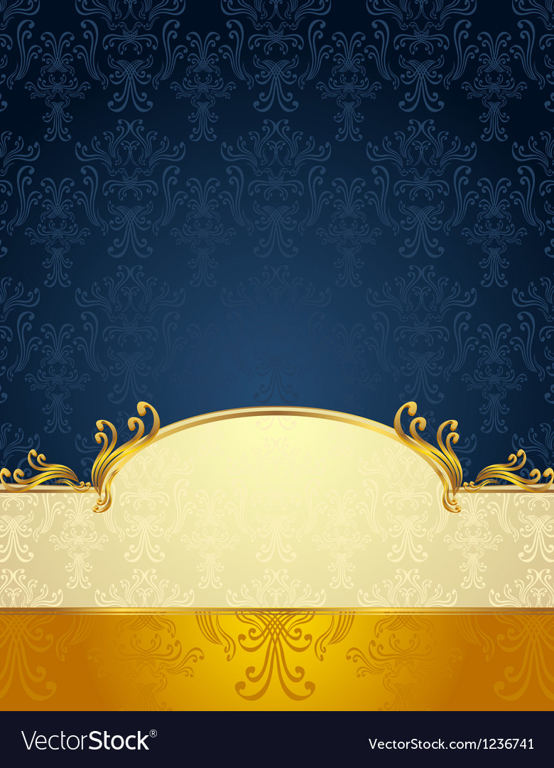 Seamless pattern in victorian style gold dark blue vector | Price: 1 Credit (USD $1)