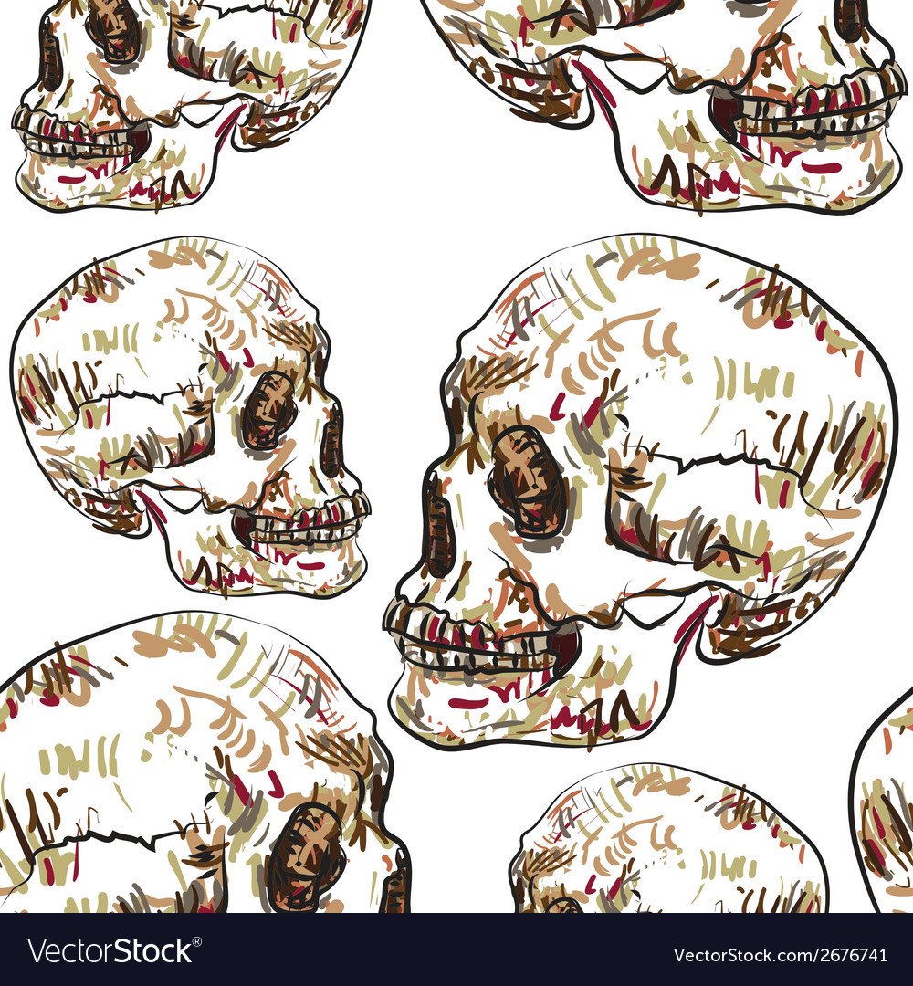 Seamless pattern of skull vector | Price: 1 Credit (USD $1)