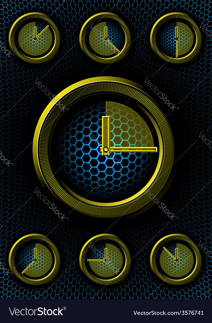 Set of clocks with hex background vector | Price: 1 Credit (USD $1)