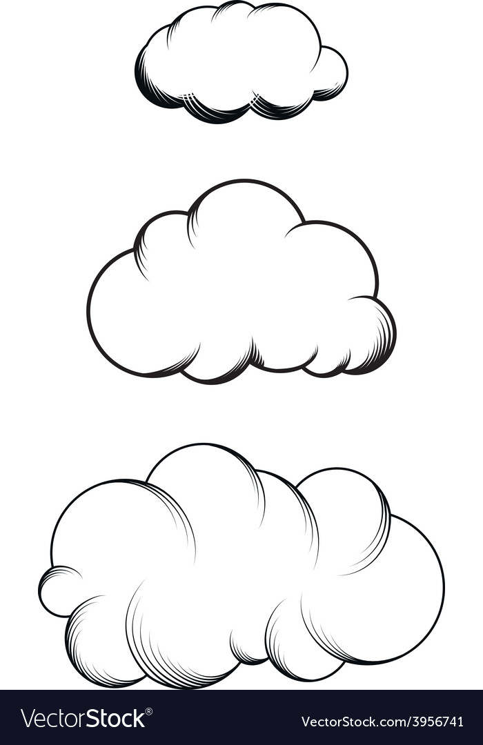 Set of hand drawn engraving clouds vector | Price: 1 Credit (USD $1)