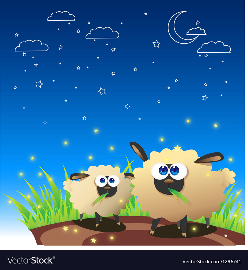 Sheep once upon starry night vector | Price: 1 Credit (USD $1)