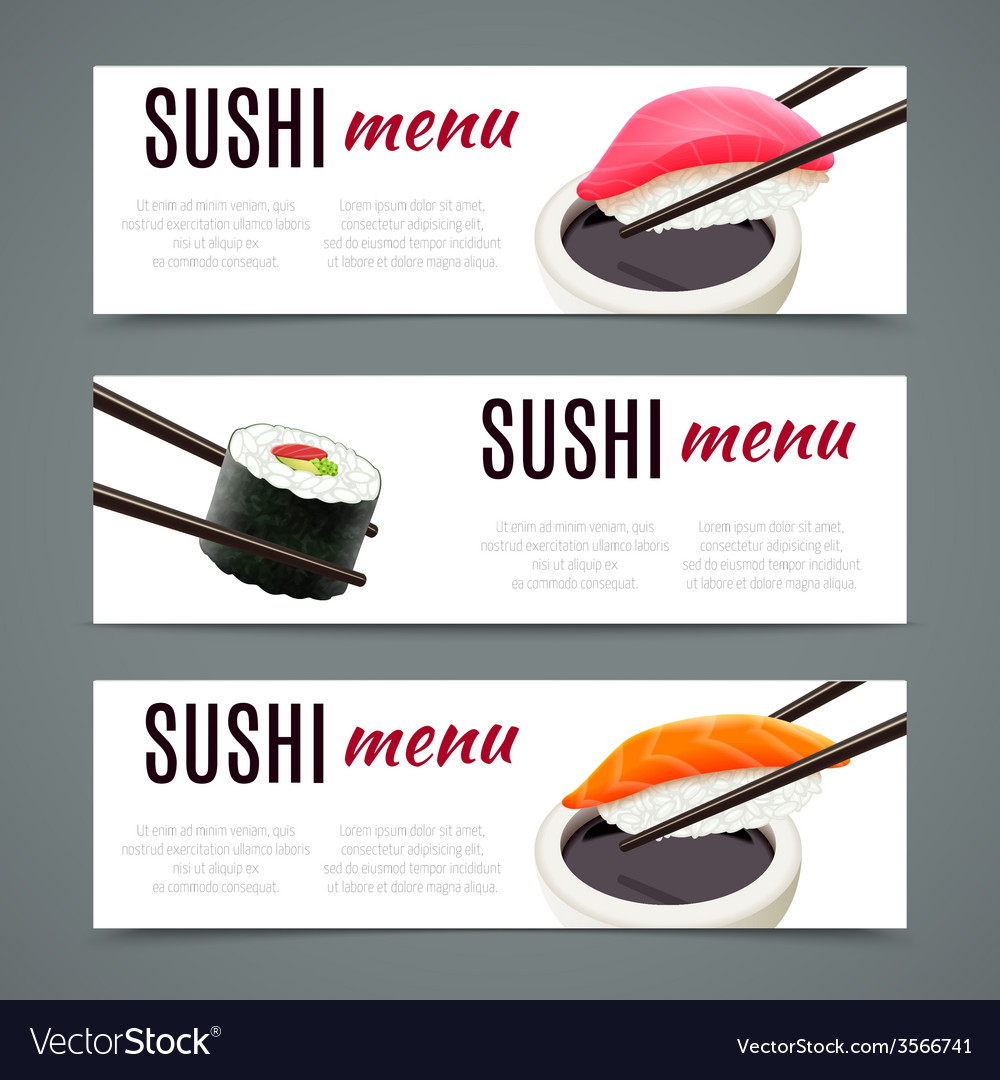Sushi banners horizontal vector | Price: 1 Credit (USD $1)
