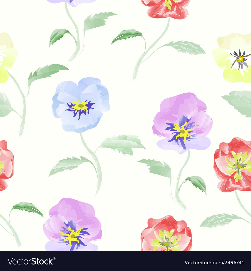 Watercolor flowers viola seamless pattern vector | Price: 1 Credit (USD $1)