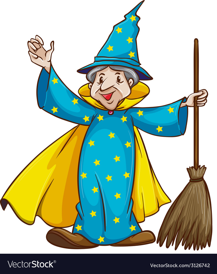 A witch holding a broom vector   Price: 1 Credit (USD $1)