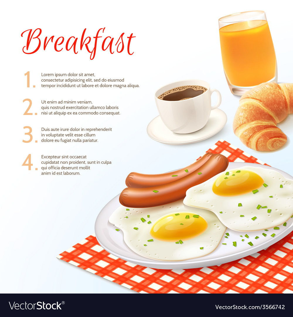 Breakfast food background vector | Price: 3 Credit (USD $3)