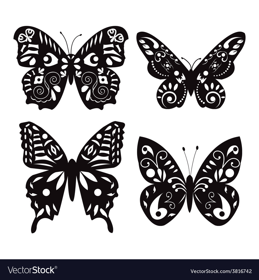 Butterflies silhouette isolated on white vector | Price: 1 Credit (USD $1)