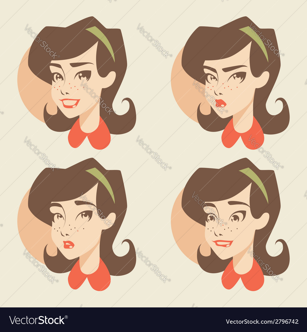 Cartoon girl face vector | Price: 1 Credit (USD $1)