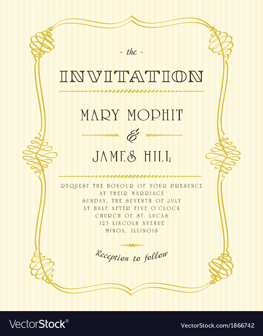 Classic wedding invitations vector | Price: 1 Credit (USD $1)