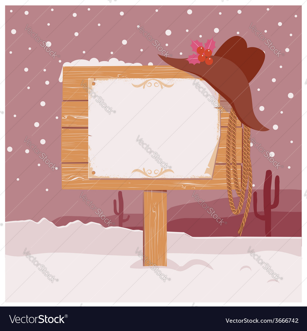 Cowboy christmas background with wood board for vector | Price: 1 Credit (USD $1)