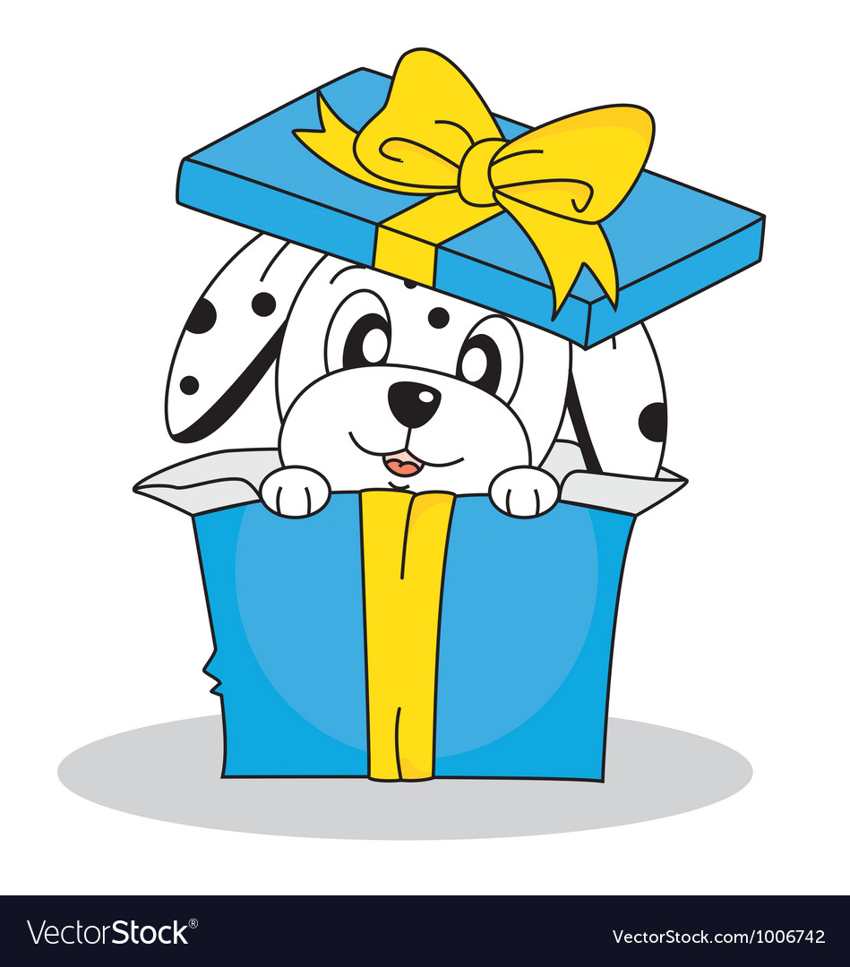 Dalmatian dog out of a gift box vector | Price: 3 Credit (USD $3)