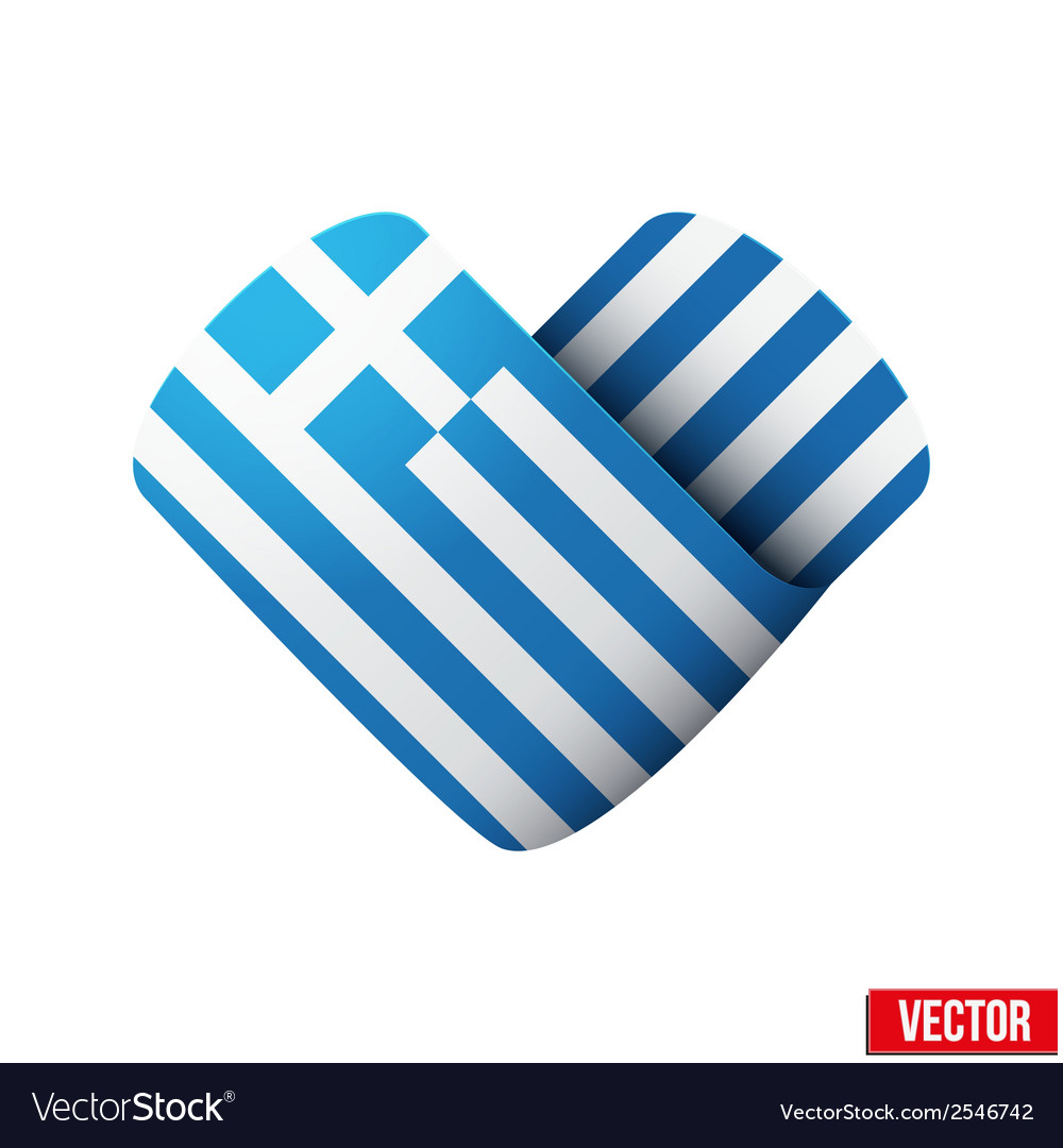 Flag icon in the form of heart i love greece vector | Price: 1 Credit (USD $1)