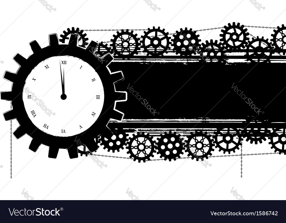 Gears banner with clock vector | Price: 1 Credit (USD $1)