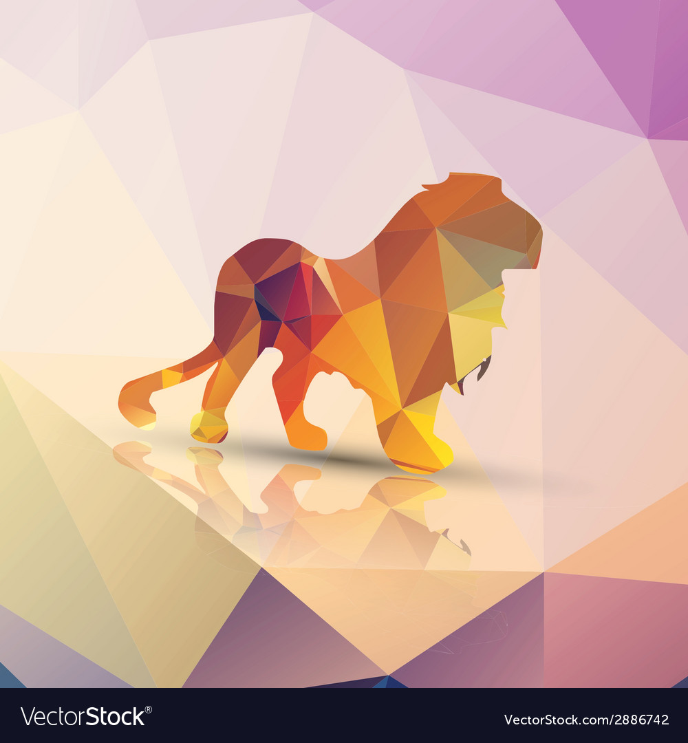 Geometric polygonal lion pattern design vector | Price: 1 Credit (USD $1)