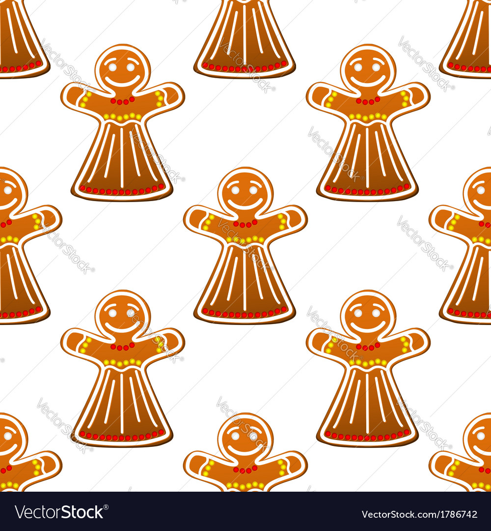 Gingerbread cookie people seamless pattern vector | Price: 1 Credit (USD $1)