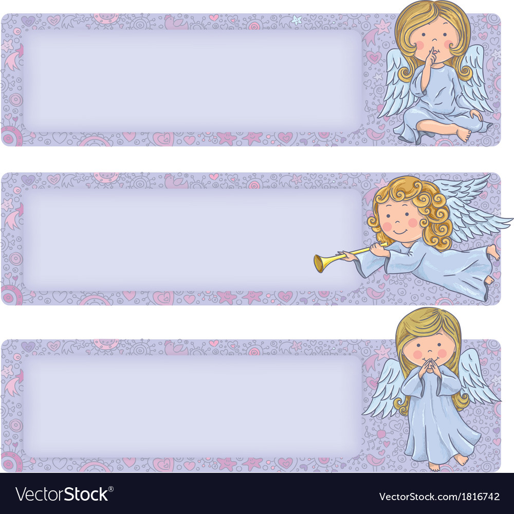 Horizontal banner with cute angels vector | Price: 1 Credit (USD $1)