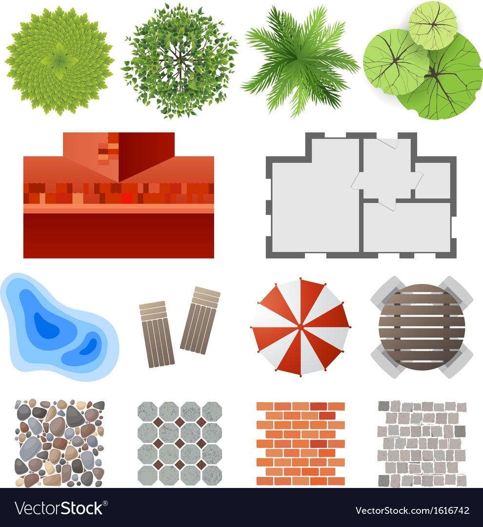 Landscape design set vector | Price: 1 Credit (USD $1)