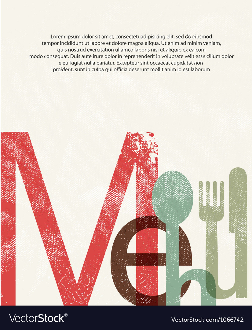 Menu design print background vector | Price: 1 Credit (USD $1)