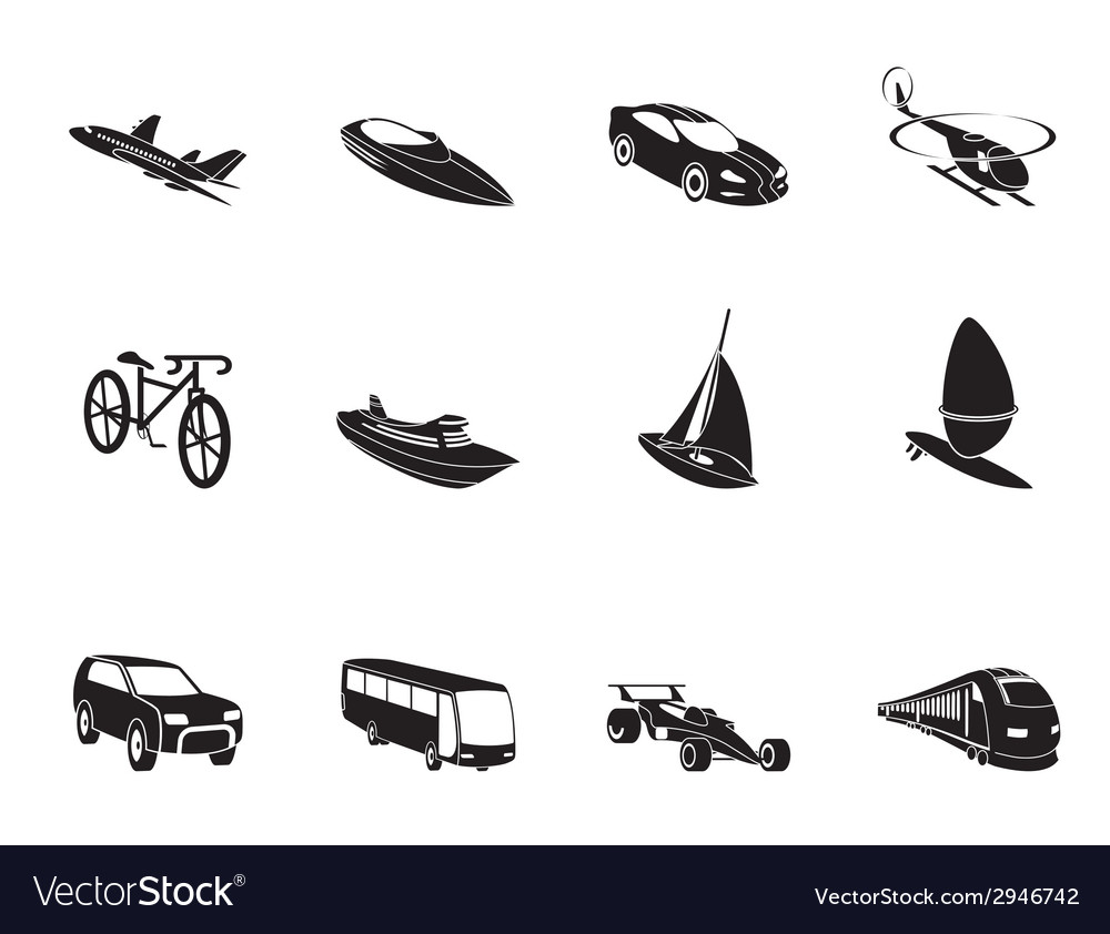 Silhouette transportation and travel icons vector | Price: 1 Credit (USD $1)