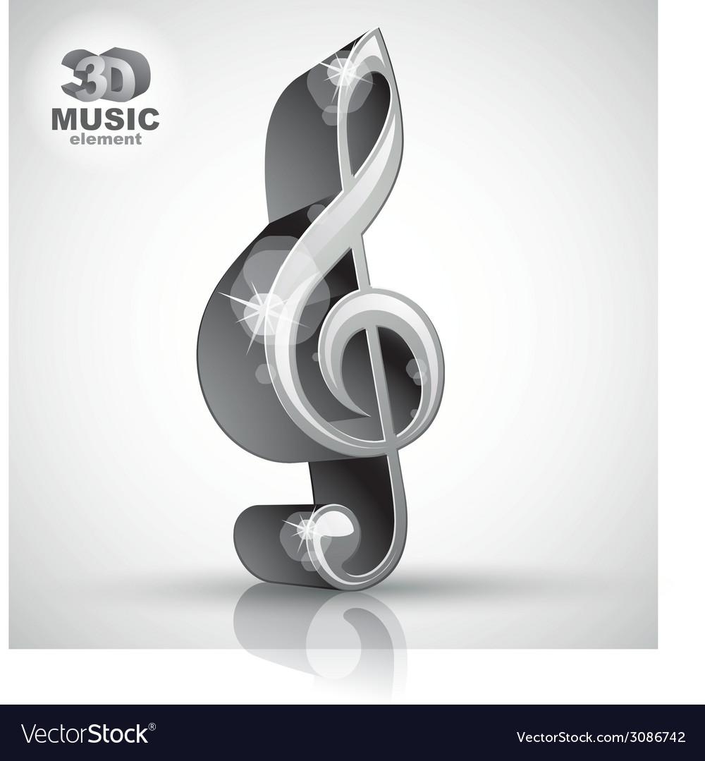 Treble clef 3d metallic music design element vector | Price: 1 Credit (USD $1)