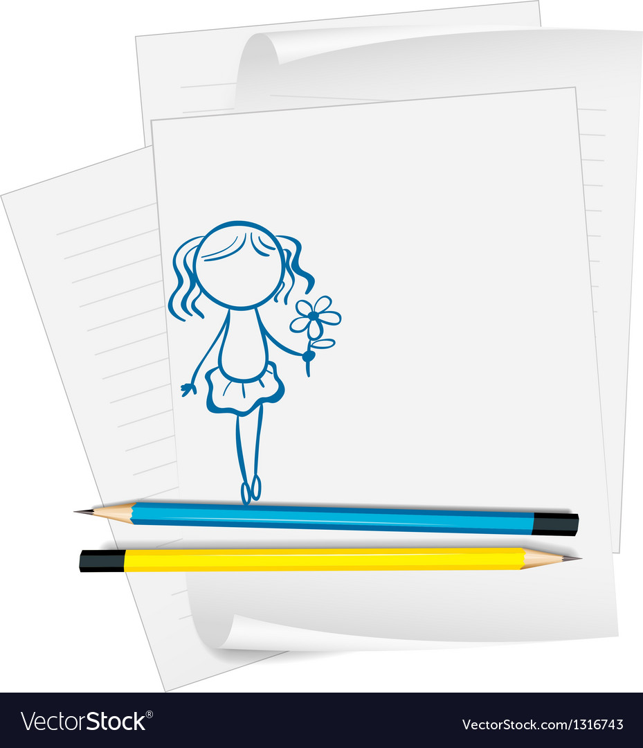 A paper with a drawing of a girl holding a flower vector | Price: 1 Credit (USD $1)