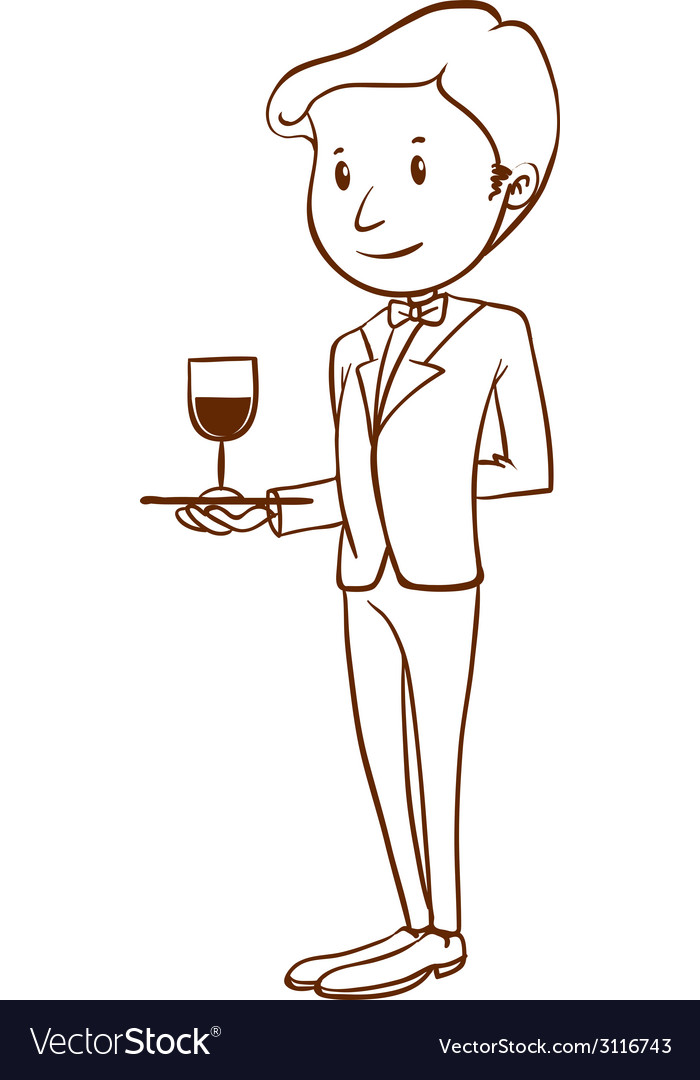 A plain sketch of a waiter vector | Price: 1 Credit (USD $1)