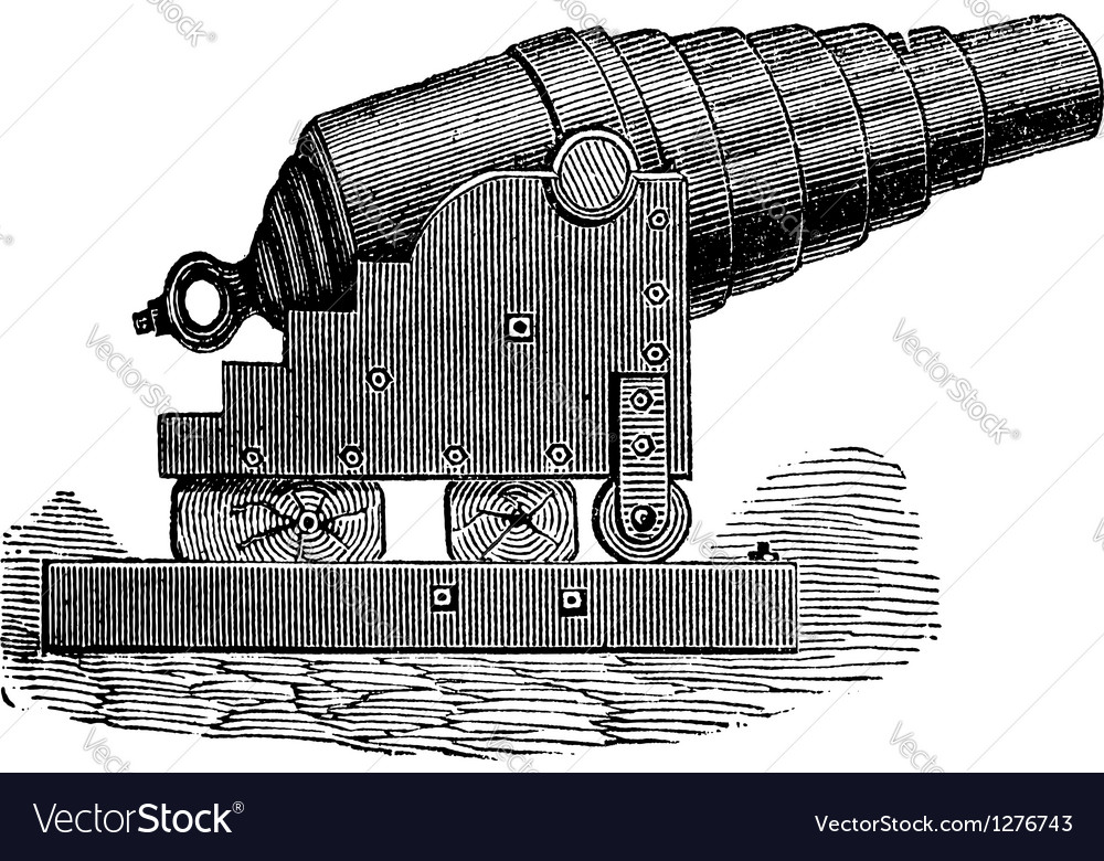 Armstrong cannon old engraving vector | Price: 1 Credit (USD $1)