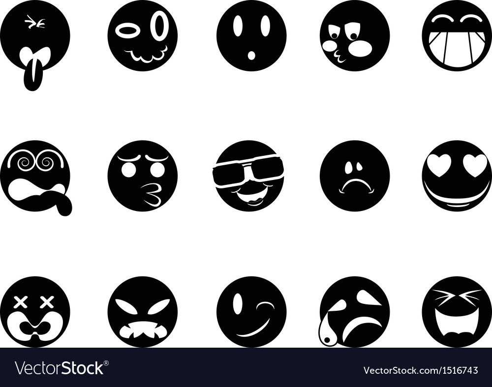 Black face icons vector | Price: 1 Credit (USD $1)