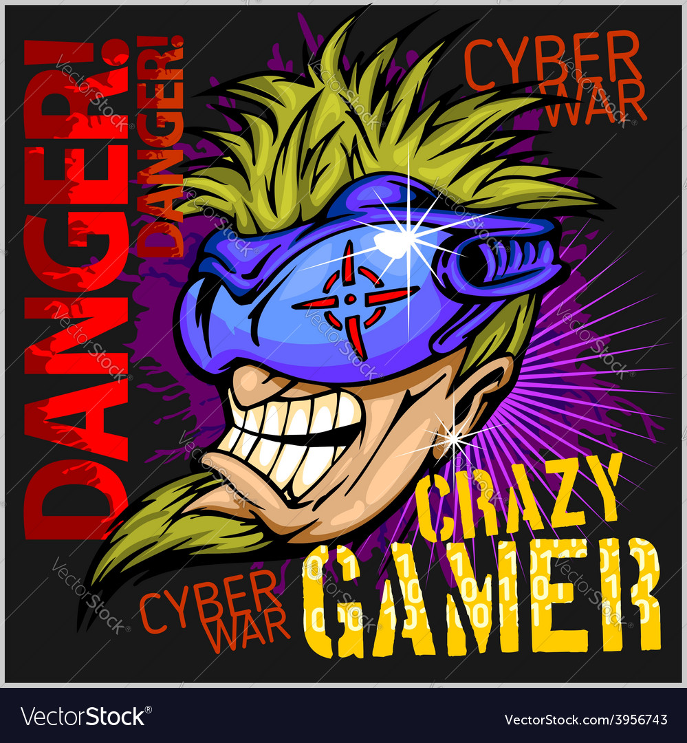 Crazy gamer - emblem for t-shirt vector | Price: 3 Credit (USD $3)
