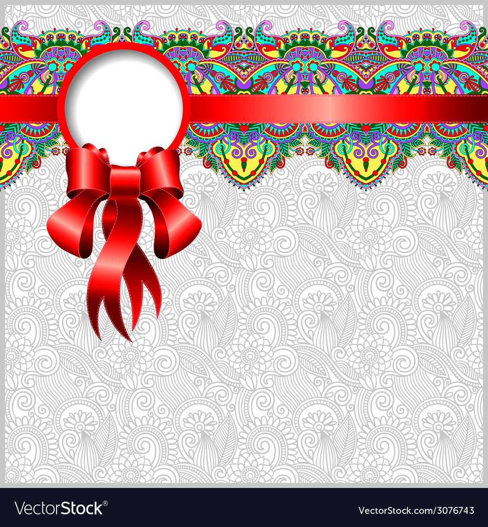 Ethnic ornamental pattern with silk ribbon and vector | Price: 1 Credit (USD $1)