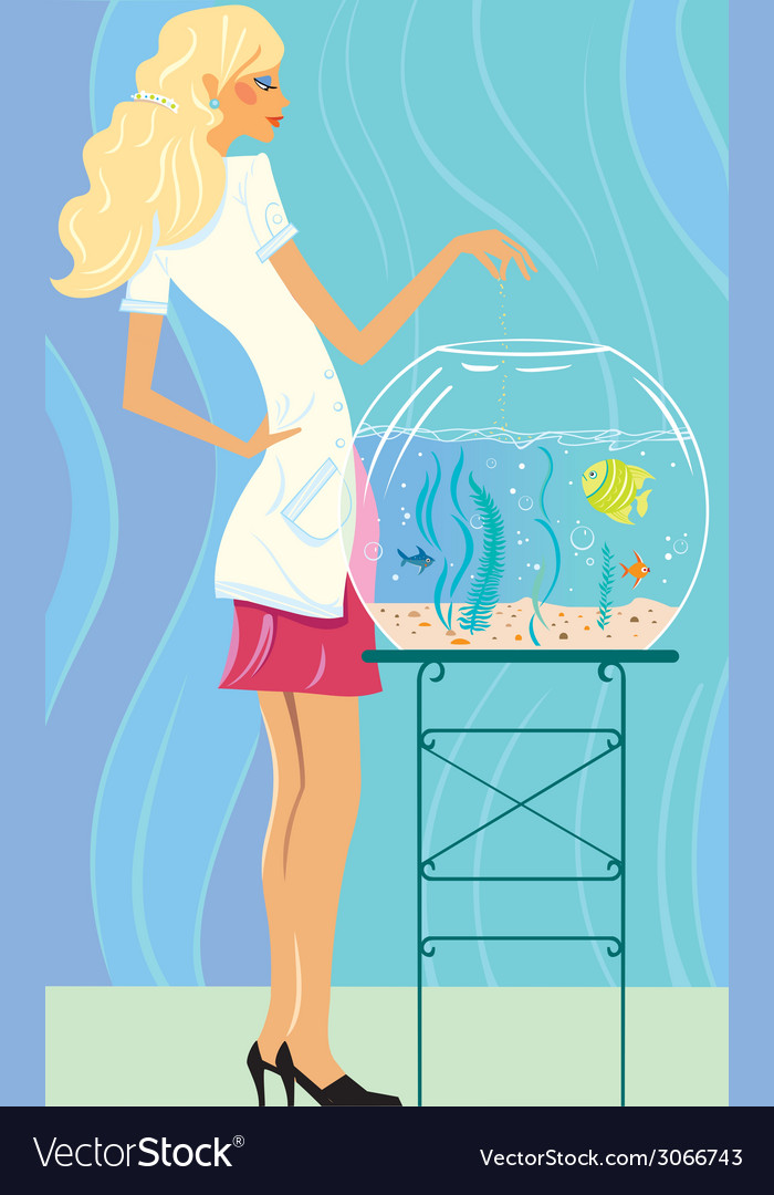 Girl feeds small fishes vector | Price: 1 Credit (USD $1)