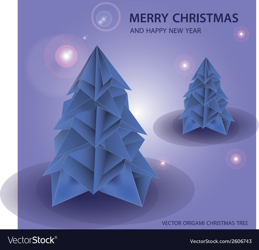 Merry christmas paper origami tree eps10 vector | Price: 1 Credit (USD $1)