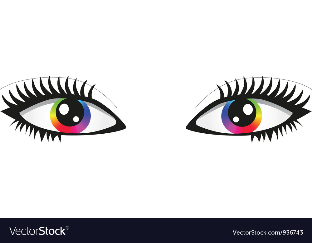 Pair of bright rainbow eyes vector | Price: 1 Credit (USD $1)