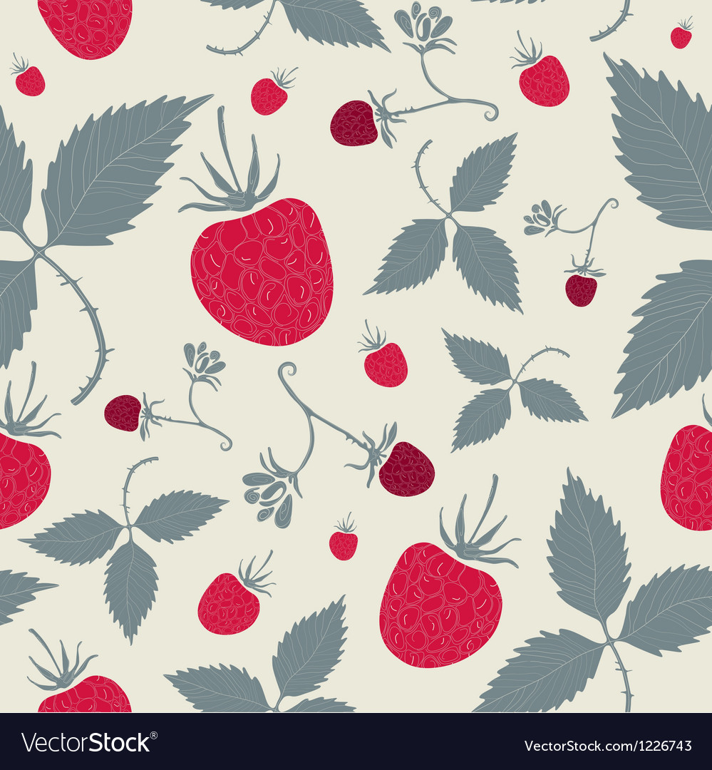 Raspberries seamless pattern vector | Price: 1 Credit (USD $1)