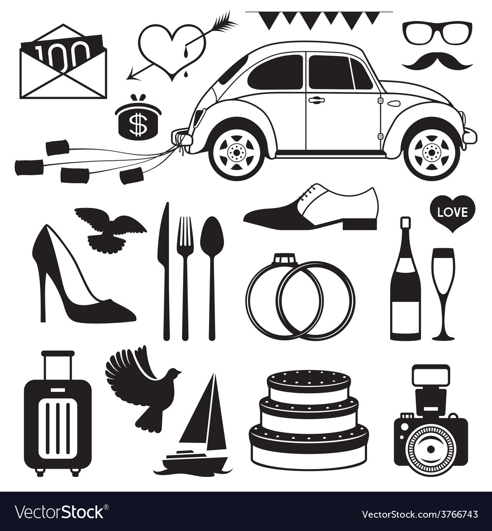 Wedding set icon vector | Price: 1 Credit (USD $1)