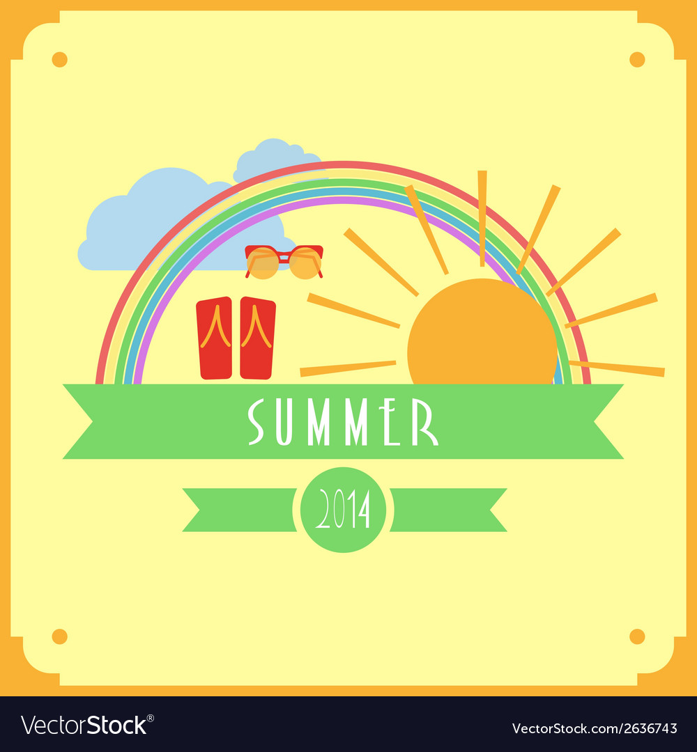 Yellow summer card with sun rainbow clouds vector | Price: 1 Credit (USD $1)