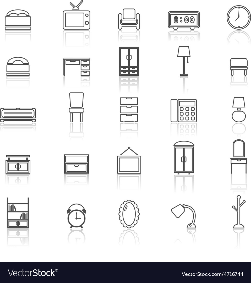 Bedroom line icons with reflect on white vector | Price: 1 Credit (USD $1)